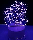 Lámpara mesita de noche de decoración anime luz nocturna infantil 💕 Dragon Ball lámpara decorativa ilusión óptica 3d Ideal para Regalo (Goku Dragon Ball)