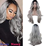 Rossy&Nancy Halloween Two Tones Synthetic Long Nature Wave Heat Resistant None Lace Wig Middle Part Ombre Black Rooted Silver Gray 130% High Density for Women