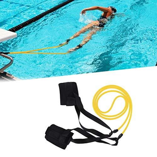 Wakauto Cinturón de Natación de Fuerza,Goma Elastica Natacion, Ajustable Nadador Estático para Piscinas Entrenamiento,Nadar Correa del Tobillo Estacionario Nadador Fitness 1M