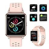Pulsera Deportiva Smartwatch, Reloj Inteligente Bluetooth, IP67 Impermeable Pulsera con Monitor de Frecuencia Cardíaca y Presión Arterial, Controles de Fotos y Música, Alertas Telefónicas y SMS, Reloj Deportivo para Mujer y Niños