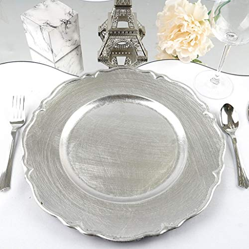 "BalsaCircle 6 pcs 13"" Metallic Silver Scalloped Edge Charger Plates - Dinner Wedding Supplies for all Holidays Decorations"