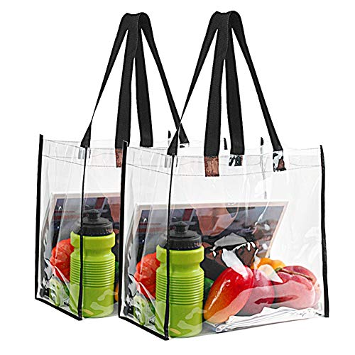 2-Pack Stadium Approved Clear Tote Bag, Stadium Security Travel & Gym Clear Bag, Perfect for Work, School, Sports Games and Concerts,12'X 12'X 6'