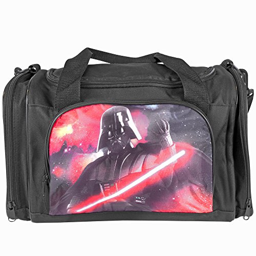 PERLETTI Sporttasche Jungen Star Wars - Trainingtasche mit Motiven aus Darth Vater und Yoda, perfekt für in die Turnhalle, auf Reisen oder in der Freizeit - Krieg der Sterne - Schwarz - 24x38x18 cm