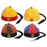 SOIMISS Sombrero chino mandarino tradicional chino emperador con trenza China Qing Dinastía Cosplay Disfraz Foto Accesorios para Niños Año Nuevo Chino Regalo 4pcs (2-10 meses)