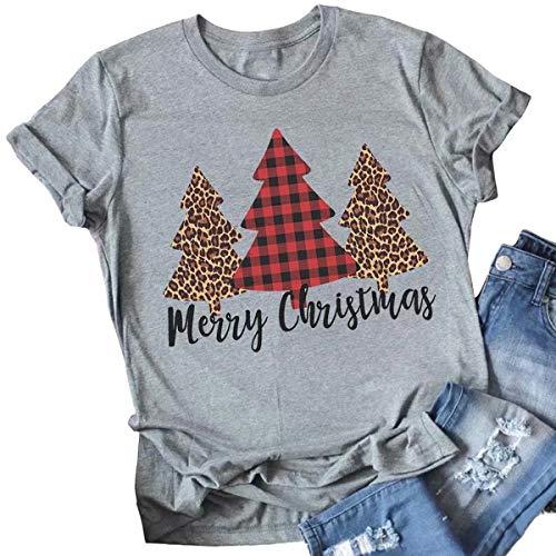 Merry Christmas Tree Print T-Shirt Women Leopard Plaid Casual Short Sleeve Tee Tops Blouse Size XL (Gray)