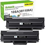 Tóner Aztech 106A compatible con HP 106A W1106A para HP Laser MFP 135wg HP Laser 107w Toner HP Laser 107a 107r 107w MFP 135a 135r 135w 135wg 137fnw 137fwg (2 unidades, negro)