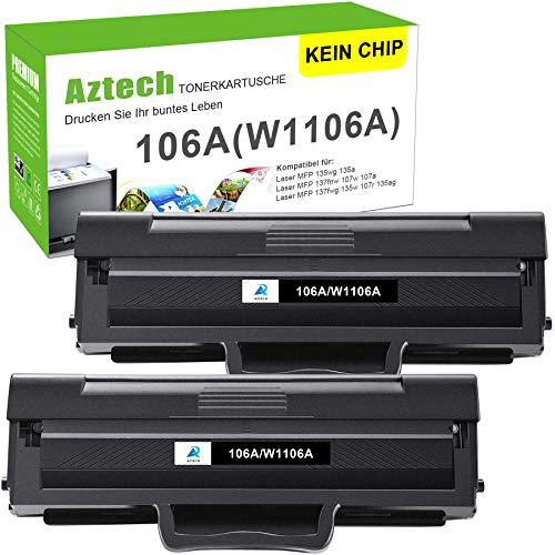 (Kein Chip) Aztech 106A Toner Kompatibel für HP 106A W1106A Druckerpatronen für HP Laser MFP 135wg HP Laser 107w Toner HP Laser 107a 107r 107w MFP 135a 135r 135w 135wg 137fnw 137fwg (2-Pack, Schwarz)