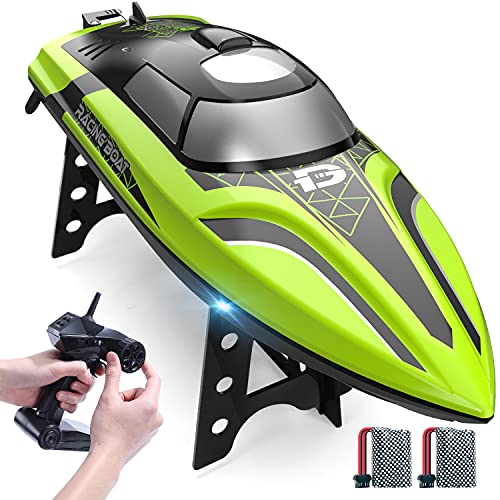 DEERC 2008 RC Boat Remote Control Boat with LED Light for Pools & Lakes,20+ mph Self Righting Racing Boats with Rechargeable Battery for Kids and Adults,2.4GHz Outdoor Radio Controlled Watercraft