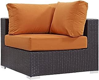 Modway Convene Wicker Rattan Outdoor Patio Sectional Sofa Corner Seat in Espresso Orange