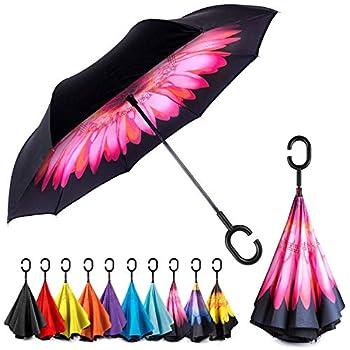 EEZ-Y Inverted Umbrella with C-shaped Handle for Men & Women Windproof and Water Resistant Umbrella - Big Umbrellas for Rain