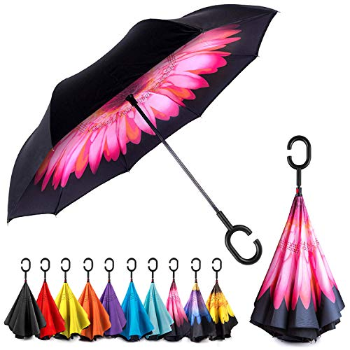 Why Choose EEZ-Y Inverted Umbrella with Windproof Double Layer Construction - Reversed Folding for C...