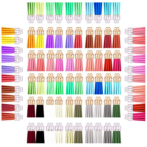 160 pcs Tassels for Jewelry Making, Mini Tassels for Crafts, Keychain Tassels, Handmade Craft Supplies Contain Gold and Silver caps, Each caps Set of 40 Colors