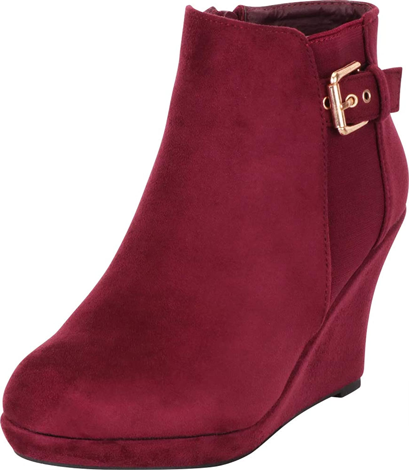 Cambridge Select Women's Round Toe Stretch Buckle Chunky Platform Wedge Ankle Bootie