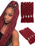 5 piezas de extensiones de cabello trenzado Jumbo rojo vino