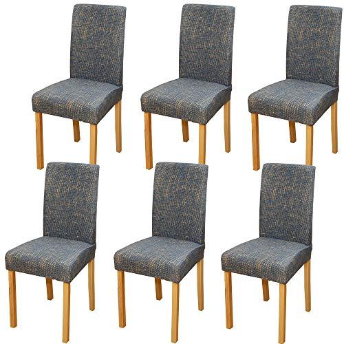 JMYDecor Juego de 6 fundas elásticas para silla de comedor, fundas protectoras extraíbles y lavables, fundas protectoras para sillas elásticas para comedor, bodas, banquetes, fiestas, etc.