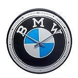 Nostalgic-Art - Orologio da parete in stile retrò, con logo BMW, idea regalo per gli appassionati di auto, grande orologio da cucina, design vintage, 31 cm