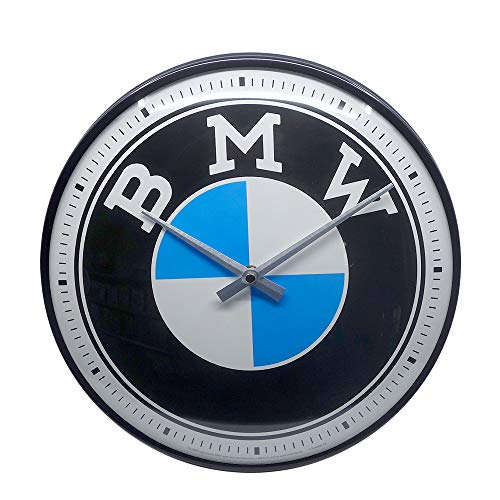 Nostalgic-Art BMW - Logo Wanduhr, Metall, Bunt, 31 cm