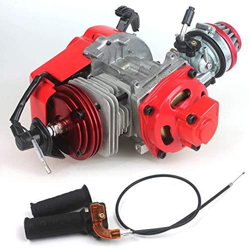 49cc 52cc Big Bore Bici de bolsillo Motor con Cilindro de rendimiento Cubierta del motor CNC Carburador de carreras Motor de bricolaje Rojo + Empuñadura de mango + Cable del acelerador