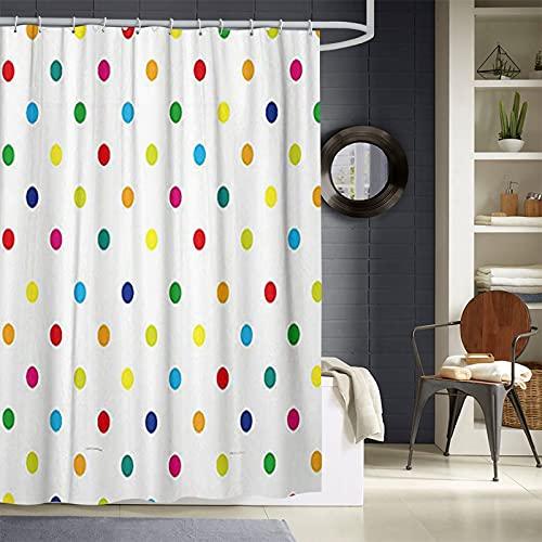 JOOCAR Bathroom Decor Shower Curtain Geometric Colorful Rainbow Polka Dot Home Curtain Sets with Hooks Polyester Fabric Great Gift