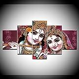 DBFHC Art Cuadros En Lienzo Dios Indio Señor Radha Krishna Decoracion De Pared 5 Piezas Modernos Mural Fotos para Salon Dormitori Baño Comedor 150X100Cm