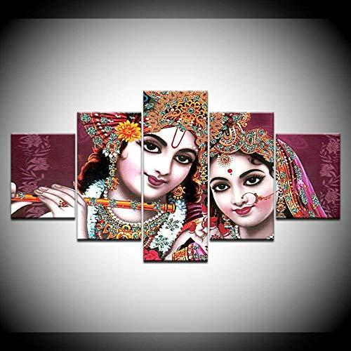 GHYTR Impresión En Lienzo 5 Piezas Cuadro sobre Lienzo Dios Indio Señor Radha Krishna Imágenes XXL 150X80Cm Oficina Sala De Estar O Dormitorio Decoración del Hogar Arte De Pared