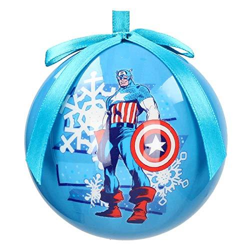 SD toys Marvel Bola Navidad Capitan America Nieve, Azul, 6.5x6.5x6.5 cm