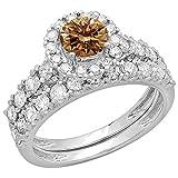 Dazzlingrock Collection 2.00 Carat (ctw) 14K Champagne & White Diamond Halo Engagement Ring Set 2 CT, White Gold, Size 8