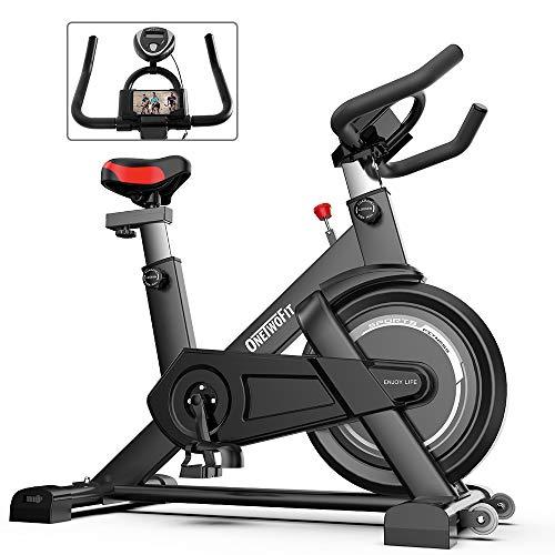 ONETWOFIT Cyclette da interno con display, sellino e manubrio regolabili Spinning Bike da Ciclismo per allenamento cardio domestico OT198