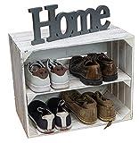 Caja de vino vintage, color blanco, zapatero, estante para zapatos, estante para botellas de vino, estante para zapatos, estante estable, estantería para cajas de fruta (1 juego)