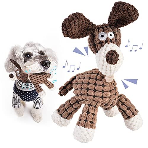 Dihope Plüschspielzeug für Hunde Interaktives Hundespielzeug Kauknochenspielzeug Quietschende Hundespielzeuge für kleine und mittelgroße Hunde waschbar (Braun,23,5 x 20,5 cm)