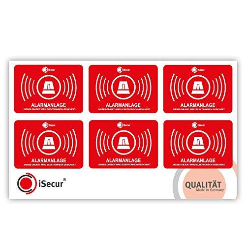 5er Aufkleber-Set Alarmanlage I hin_455 5x3,5cm I Achtung Objekt Wird elektronisch Alarm-gesichert I für Fenster-Scheibe und Tür I innenklebend