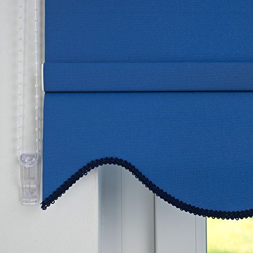 JalousieCrew Kettenzugrollo mit Volant Klassik Seitenzug Rollo blau - 60-240 cm Länge 180 cm Blickdicht Blickschutz Tür Fenster (130 x 180 cm)