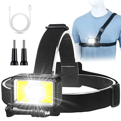 Headlamp Flashlight 2 Way Use Rechargeable LED Headlamp Running Light Chest Light for Camping Hiking Running Jogging Walking with Red Safety Light for Adults and Kids Outdoors1 Pack Light