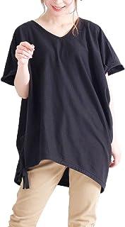 [ゴールドジャパン] 大きいサイズ レディース ドロスト リボン 付き コットン カットソー トップス 半袖Vネック