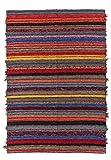 Jarapa Home Alfombra Natural 170 x 240 cm. Multicolor hecha a mano, pelo corto de Algodón reciclado...