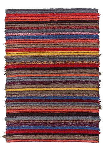 Jarapa Home Alfombra Natural 140 x 200 cm. Multicolor hecha a mano, pelo corto de Algodón reciclado - Alfombra grande de salón, dormitorio, pie de cama, cocina, etc.
