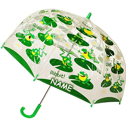 alles-meine.de GmbH Regenschirm Frosch - Kinderschirm transparent incl. Namen - Ø 70 cm - Kinder Stockschirm Regenschirm - für Mädchen Jungen Schirm Kinderregenschirm / Glockensc..