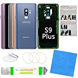 Galaxy S9+ Back Glass Replacement Cover with All The Adhesive + Installation Manual + Pre-Installed Camera Lens + Repair Tool Kit for Samsung Galaxy S9 Plus SM-G965 All Carriers (Coral Blue)