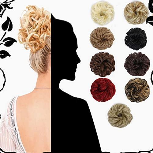 3 stks Haar Broodjes Haar Piece, Messy Haar Bun Scrunchie Synthetische Gevlochten updo haarstukjes Clip, updo Haarstukken voor Vrouwen (Golden Brown & Bleach Blonde)