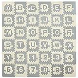HOMCOM Alfombra Puzzle para Bebés 36 Piezas 31,5x31,5 cm con 26 Letras (A-Z) y Números 0 al 9 Juego Ronpecabezas Infantil de 3,24 m² Espuma EVA Suave Gris y Blanco