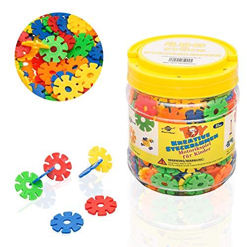 Smart Planet® 400 flores en lata – Copos de nieve para fijar 3,3 cm – Juguete para niños – Juguete educativo – Piezas de construcción de piezas a partir de 3 años