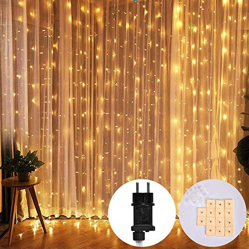 Queta LED Lichterkette 8 Betriebsarten LED Lichtervorhang Vorhanglichter für Innendekoration, Außenbereich, Schlafzimmer, Hochzeit, Weihnachtsfeier Warmweiß (3mx3m)