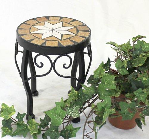 DanDiBo Blumenhocker Mosaik Rund 20 cm Blumenständer 12014 Beistelltisch Pflanzenständer Mosaiktisch Klein