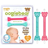 oogiebear - The Safe Baby Nasal Booger and Ear Cleaner - Baby Shower Registry Essential | Easy Baby Nose Cleaner Gadget for Infants and Toddlers | Dual Earwax Snot Removal - Two Pack Raspberry Seafoam