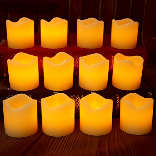 【Real Wax 6H Timer,100+ Working Hours】Flickering Real Wax Flameless Tealights Candles Battery Operated Votive Candles Tea Lights 12 Pack Amber Yellow Flame(Dia. 5cm x 5cm Height)