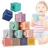E-More Bloques Apilables para Bebés 0-12 Meses,Cubos Juguetes Bebe para Masticar la Dentición Juguetes Educativos para el Baño del Bebé Juegue