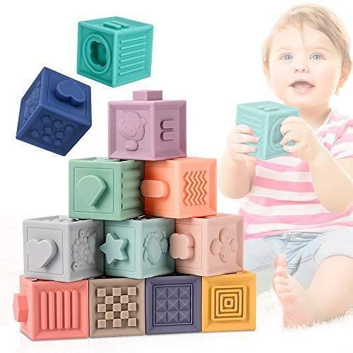 E-More Blocs bébé Jouets Dentition Jouet 0-12 Month, Jouets à mâcher de Dentition Jouets éducatifs pour Le Bain de bébé Jouent avec des Blocs de Construction de bébé Doux pour Les Tout-Petits