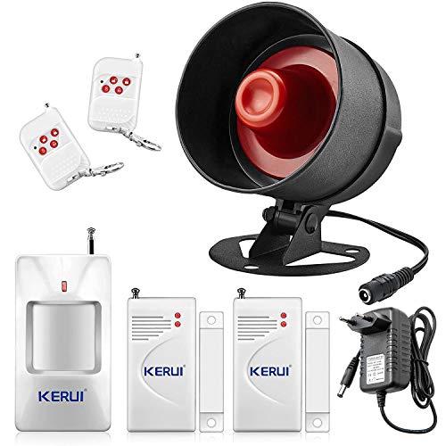 KERUI Alarmanlage mit 2 Tür- und Fenstersensor 1 Bewegungsmelder 2 Fernbedienungssensor 115 dB Siren Drahtloser Türalarm Diebstahlsicherungssystem Alarmanlage für Haus Einbruchschutz
