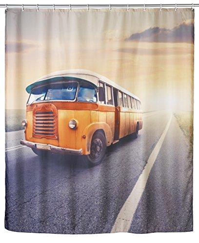 WENKO 21584100 Anti-Schimmel Duschvorhang Vintage Bus - waschbar, 100 prozent Polyester, Mehrfarbig