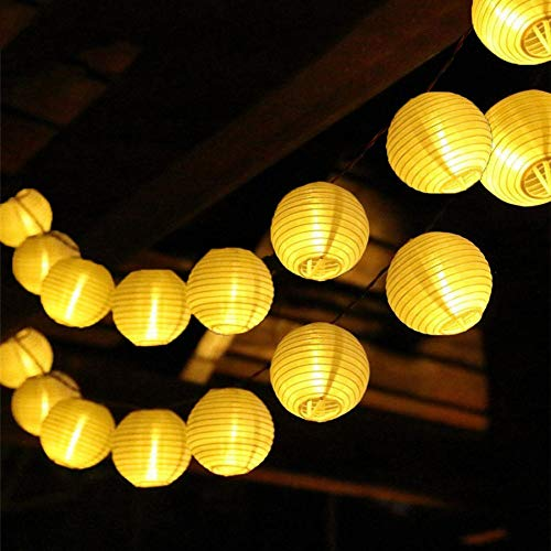 XKMY Cadena de luces LED para jardín, para exteriores, con luz solar, 10, 20, 30 LED, para patio, fiesta, boda, globo solar, guirnalda de hadas (color emisor: blanco cálido, potencia: 30 LED)